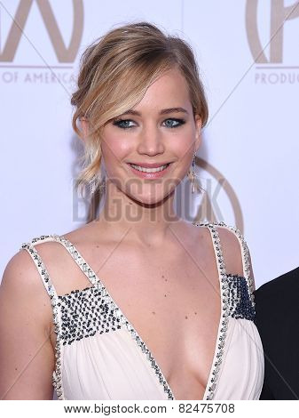 LOS ANGELES - JAN 24:  Jennifer Lawrence arrives to the 26th Annual Producers Guild Awards  on January 24, 2015 in Century City, CA