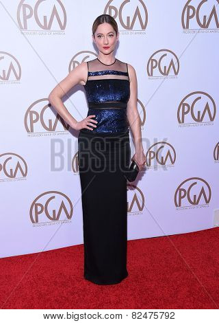 LOS ANGELES - JAN 24:  Judy Greer arrives to the 26th Annual Producers Guild Awards  on January 24, 2015 in Century City, CA