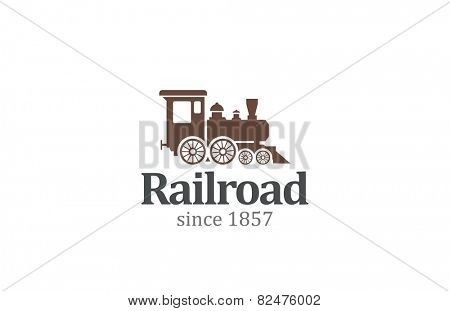 Vintage Retro Railroad Train Locomotive Logo design vector template. Travel Railway Logotype concept icon.