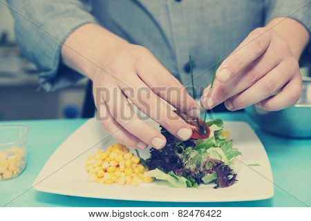 Chef is decorating appetizer on commercial kitchen, toned image