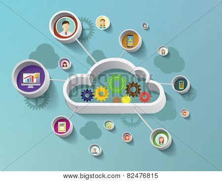 Social media concept cloud technology with flat icons. Vector illustration