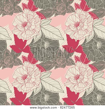 Classic  floral seamless pattern with roses.