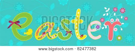 Colorful Happy Easter banner with flowers elements composition. Vector file.