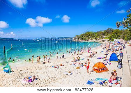SYDNEY,AUSTRALIA-JAN 3, 2015:People relaxing at Shark beach in Nielsen national park near Sydney, Australia on Jan 3, 2015. Nielsen Park is one of Sydney's favourite year-round recreation areas.