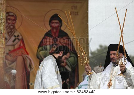 MIKULCICE, CZECH REPUBLIC - MAY 25, 2013: Orthodox priests attend an orthodox service in honour of Saints Cyril and Methodius in Mikulcice, Czech Republic.