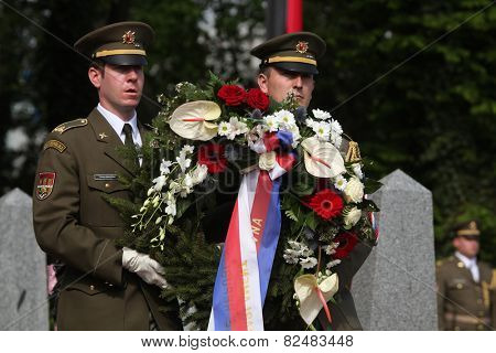 PRAGUE, CZECH REPUBLIC - MAY 9, 2013: Czech millitary honour guard attends the celebration of Victory Day at the Soviet War Memorial at the Olsany Cemetery in Prague, Czech Republic.