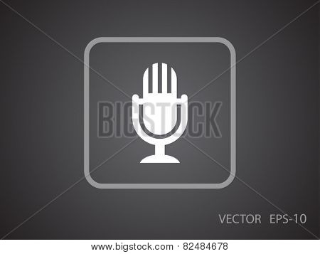 Flat  icon of microphone