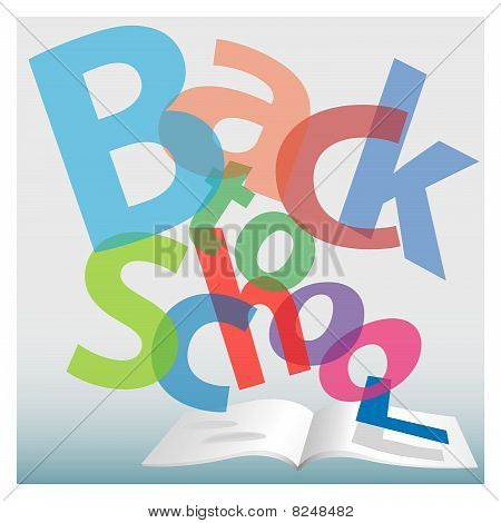 Back To School Words Fly On Book Pages