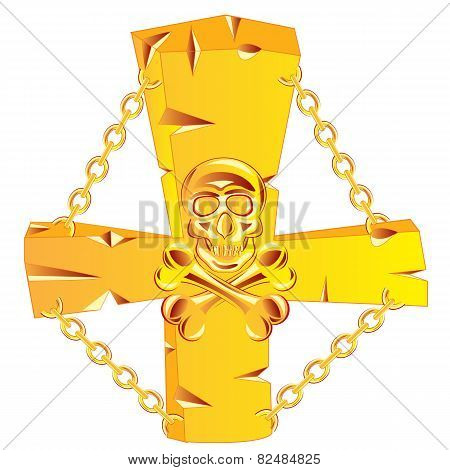 Cross and skull golden