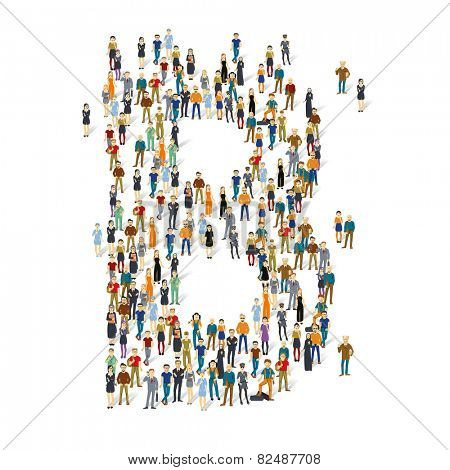 People crowd. Vector ABC, letter B
