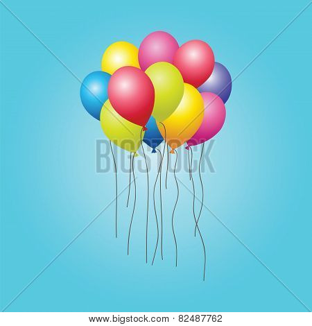 Bunch Of Colorful Balloons In The Sky