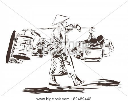 Woman carrying a yoke on her shoulder, Vector illustration Abstract ink line sketch