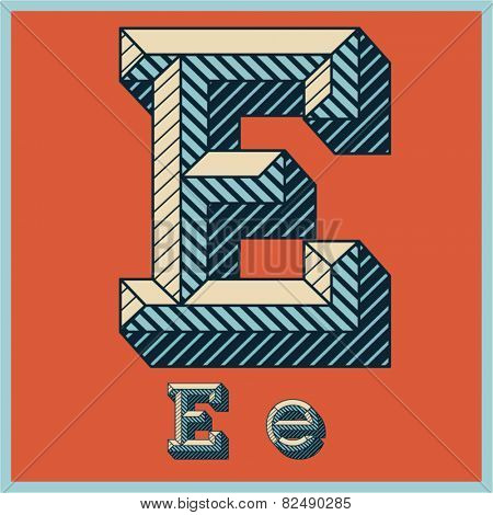 Etched vector font set of engraved letters. Old school beveled alphabet. Character E