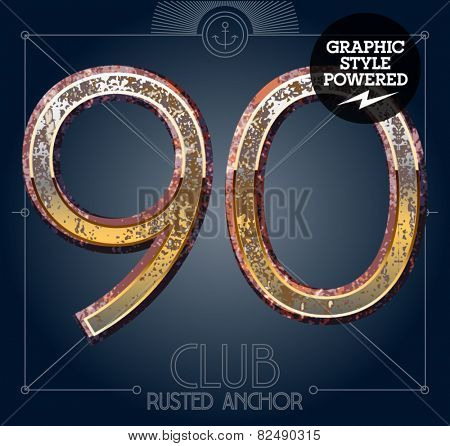 Vector font set of rusted letters. Old school vintage yacht club. Numbers 9 0