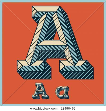 Etched vector font set of engraved letters. Old school beveled alphabet. Character A