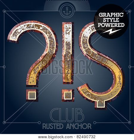 Vector font set of rusted letters. Old school vintage yacht club. Symbols 2