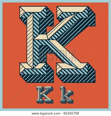Etched vector font set of engraved letters. Old school beveled alphabet. Character K