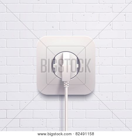 Vector electric white socket plug on the brick wall.
