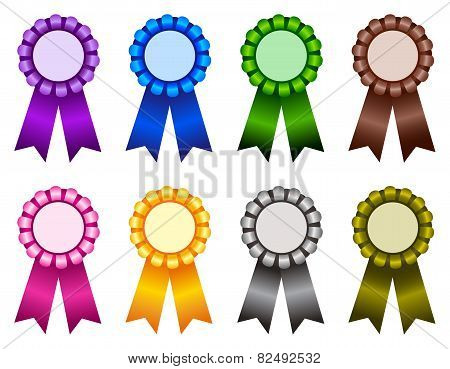Award Ribbon Rosette Multi Color