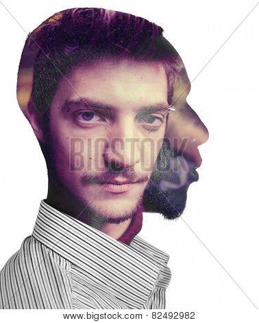 Two men in one head concept double exposure