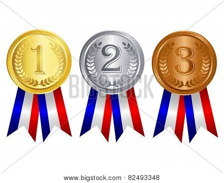 Gold , Silver , And Bronze Medals With Ribbons
