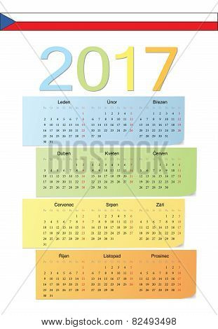Czech 2017 Vector Color Calendar.