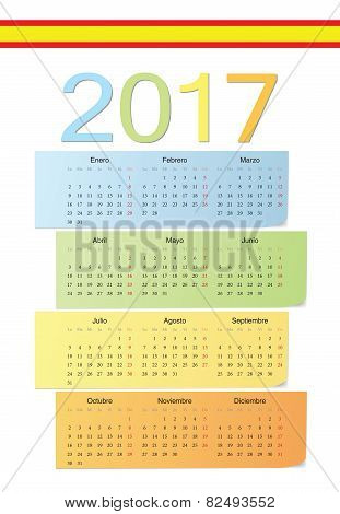 Spanish 2017 Vector Color Calendar.