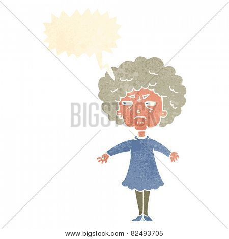 cartoon bitter old woman with speech bubble