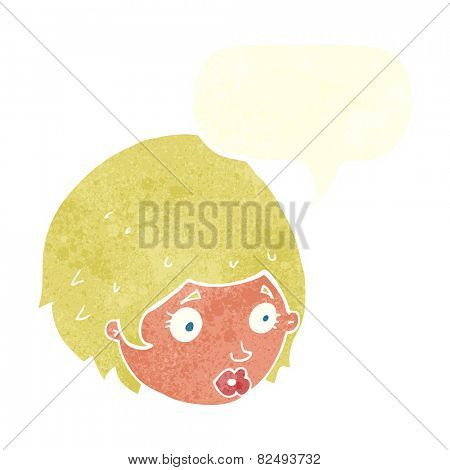 cartoon girl with concerned expression with speech bubble
