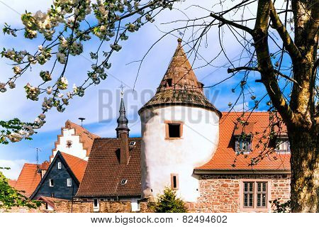 Part of the old city wall in historical Buedingen, Germany
