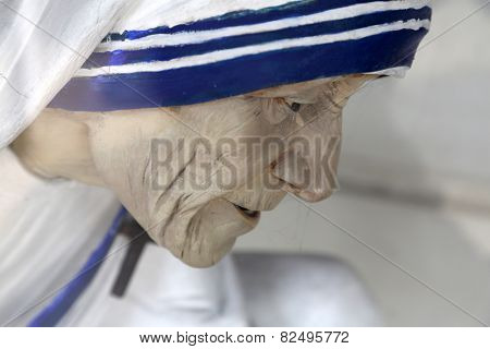 KOLKATA, INDIA - FEBRUARY 11: Mother Teresa statue, Shishu Bhavan, one of the houses established by Mother Teresa and run by the Missionaries of Charity in Kolkata, India on February 11, 2014.