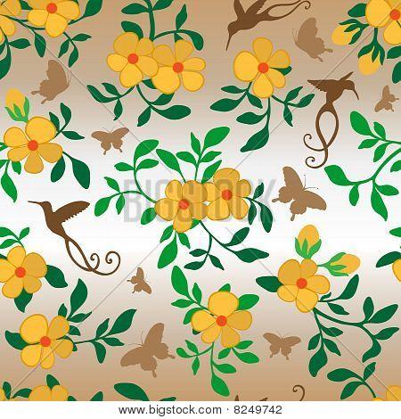 Flowers Hummingbirds Butterflies Seamless Wallpaper