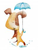 image of kiddie  - Red dog with blue umbrella. Watercolor illustration. Hand drawing.