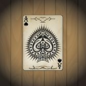 picture of ace spades  - Ace of spades poker cards old look varnished wood background - JPG