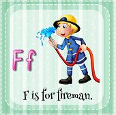 image of firemen  - Illustration of a letter F is for fireman - JPG