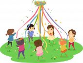 image of stickman  - Stickman Illustration of Girls Dancing Around a Maypole - JPG