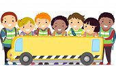 picture of stickman  - Stickman Illustration of Kids and Their Teacher Holding a Banner in the Shape of a Bus - JPG