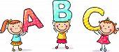 image of little boys only  - Little cartoon kids holding ABC letters - JPG
