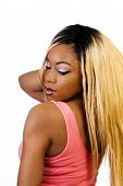 image of wig  - Black Woman From Back Blond Wig Standing - JPG