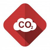 stock photo of carbon-dioxide  - carbon dioxide flat icon co2 sign  - JPG