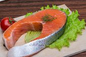 foto of salmon steak  - Raw salmon steak with dill ready for coocking