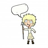 stock photo of spears  - cartoon crazy woman with spear with speech bubble - JPG