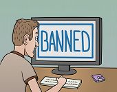 pic of ban  - This is the illustration about banning in the internet - JPG