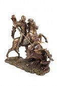 stock photo of figurine  - Bronze figurine a warrior on a horse wins a dragon isolated on a white background - JPG