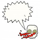 image of gross  - cartoon gross skull with speech bubble - JPG