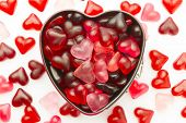 foto of jelly beans  - valentine wallpaper with heart shaped mold filled with heart jelly beans - JPG