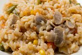 stock photo of green bean  - A meal of vegetable risotto with mushrooms - JPG