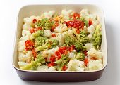 image of romanesco  - Italian style Cauliflower and romanesco salad with grilled bell pepper and  a lemon - JPG