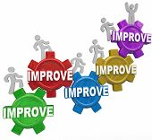 stock photo of climb up  - Improved word on gears with people - JPG