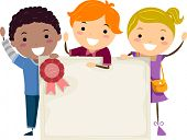 stock photo of certificate  - Illustration of Kids Holding a Group Certificate - JPG